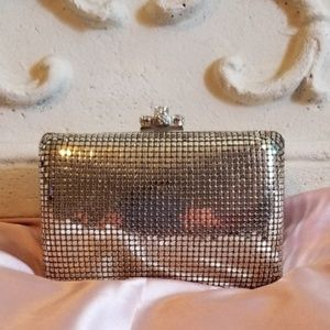 Kate Landry Silver Mesh Evening Clutch Bag